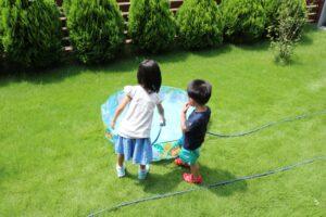 つくばの庭付き一戸建てのプール遊び